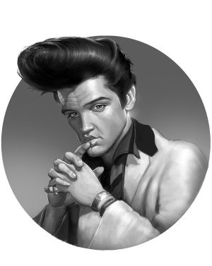 Golden Caricatures Volume 4: caricature of Elvis by Gabby Correia.