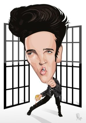 Golden Caricatures Volume 3: caricature of Elvis by MovieMonkey.