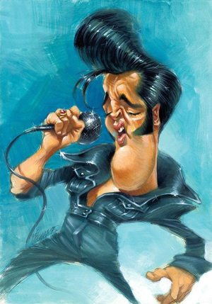 Golden Caricatures Volume 5: caricature of Elvis by Joan Vizcarra.