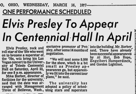 Image result for elvis presley march 16, 1977