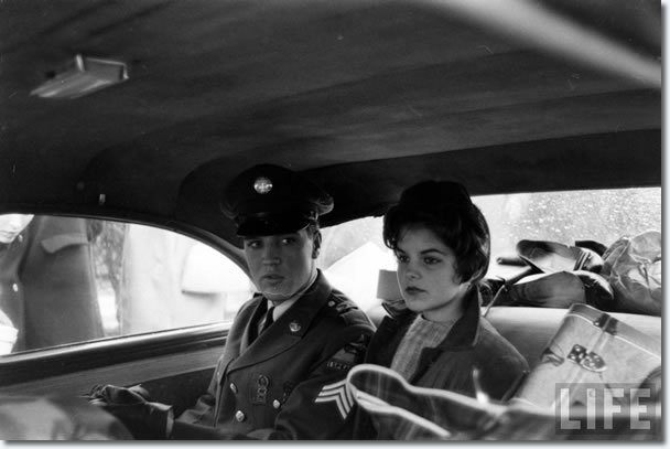 Elvis Presley and Priscilla Beaulieu during their final moments in Germany: March 2, 1960