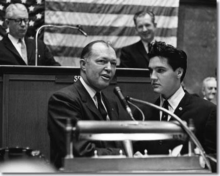 Governor Buford Ellington addressing the Tennessee State Legislature with Elvis Presley