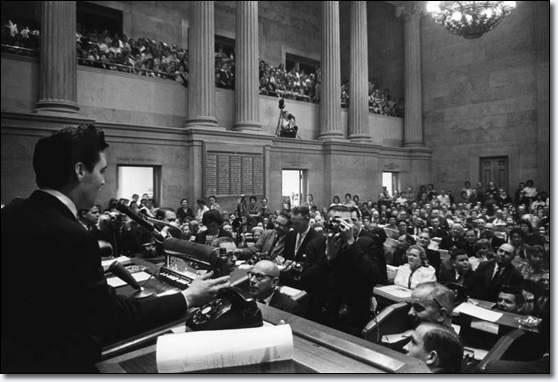 Elvis Presley addressing the Tennessee State Legislature