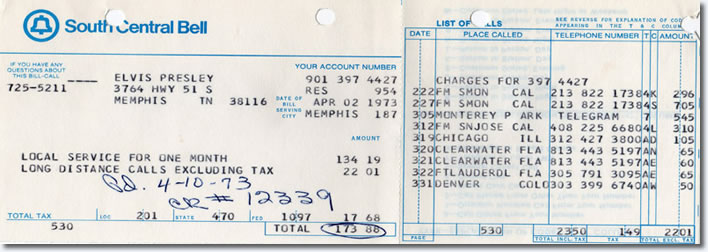 Have you ever wondered what Elvis' phone number was? How about how much his phone bill cost? That would be over $800 today!