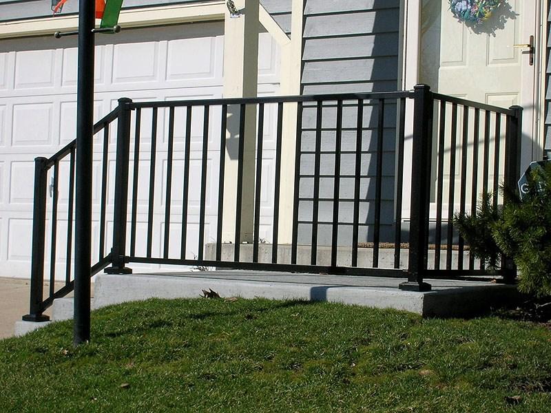 Ornamental Aluminum Iron Porch Railing By Elyria Fence | Black Aluminum Stair Railing | Interior | Classic | Simple | Square Metal | Pressure Treated Deck Black