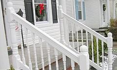 Vinyl Porch Railings Stair Rail Deck Railing By Elyria Fence | Vinyl Railings For Outside Steps | Balusters | Composite | Wood | Precast Concrete Steps | Railing Installation