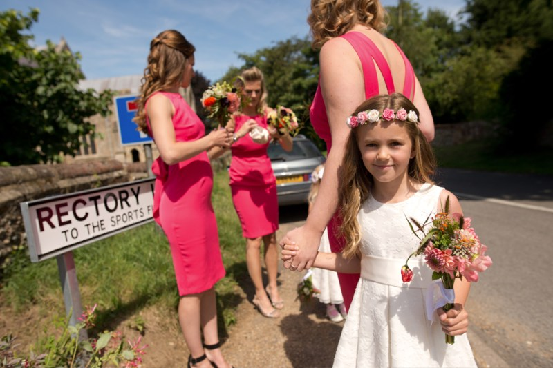 english countryside barn wedding bridesmaid flowergirl