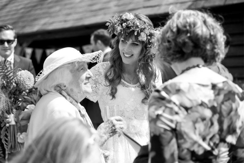 english countryside barn wedding bride smiling