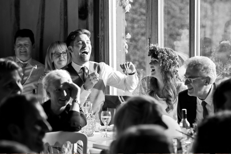 english countryside barn wedding bride groom speeches laughing