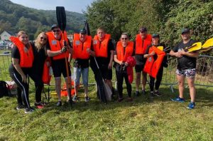 The Aderyn hospital team at the Monmouth Raft Race 2021