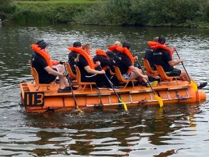 Aderyn team on the water at the Monmouth Raft Race 2021
