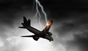 lightning strikes an aircraft in flight