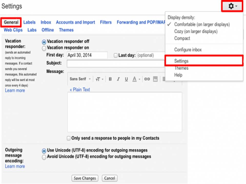 Setup A Vacation Or Out Of Office Auto Reply In Gmail Email Help Zone