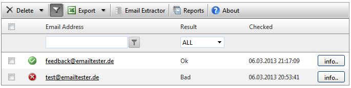 EmailAdressenVerifizierung  Check von Rolosoft