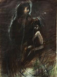 Emanuele Convento - Madonna con bambino, 2013 tempera e pastelli su carta, cm 51 x 30
