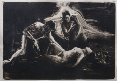 Emanuele Convento - Ninfa e Satiri, 2017 monotipo, mm 450 x 650