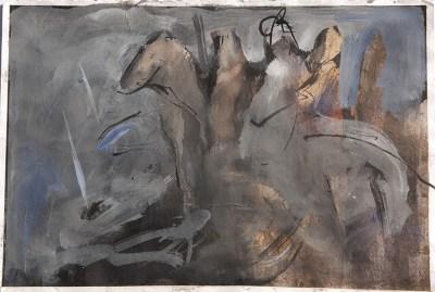 Emanuele Convento - Riposo dopo la battaglia, 2013 tempera e china su carta, cm 20 x 30
