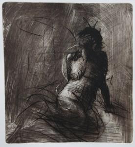Emanuele Convento - Sirena famelica, 2017 ceramolle, maniera pittorica e puntasecca, mm 500 x 460