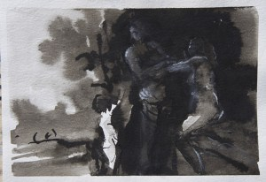 Emanuele Convento - Venere e Adone, 2015 china e tempera su carta, cm 18 x 25