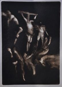 Emanuele Convento - Le tre Croci, 2018 puntasecca, carborundum su plexliglass, mm 700 x 500