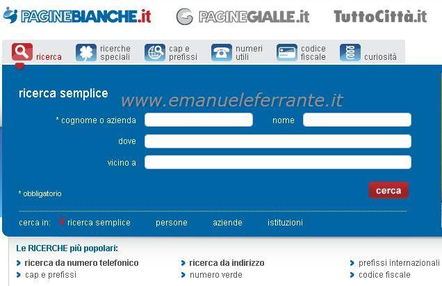 Cercare un numero telefonico  Emanuele Ferrantes Blog