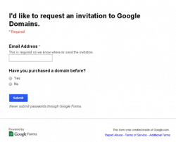 Google Domains - demande invitation