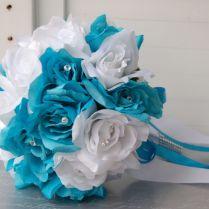 17pc Malibu,turquoise White Wedding Bouquets,boutonnieres,corsages