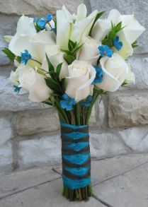 Calla Lillies, Blue Accents And White Roses On Emasscraft Org