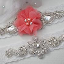 Coral Wedding Garters, Bridal Garter Set, Coral Wedding, Custom