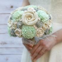 Hand Dyed Pastel Mint & Soft Grey Bride's Wedding Bouquet