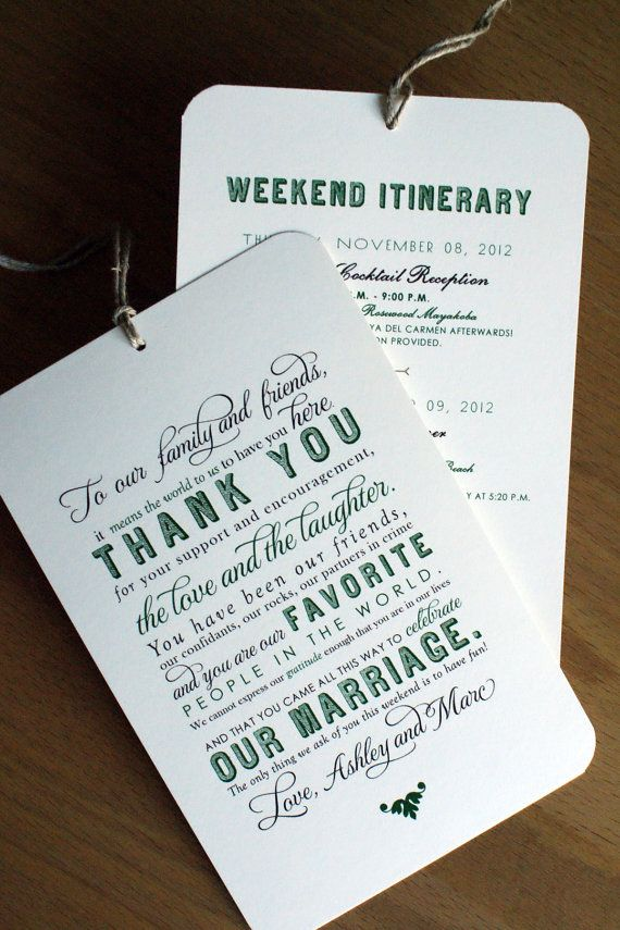 Wedding Welcome Bag Itinerary Template