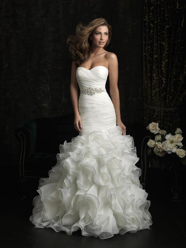 Ruffle Bottom Wedding Dress