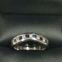 11 Sapphires And Diamonds In 18kt White Gold Wedding Band Made