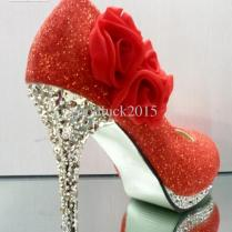 2013 Bridal High Heeled Shoes Women's Wedding Shoes Red Champagne