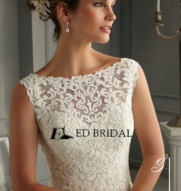 2014 New Fashion Lace Appliqued Low Back Mermaid Wedding Dress