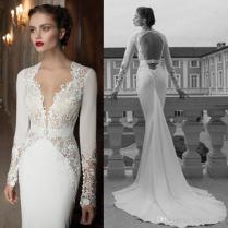 2014 Wedding Dress Inspired By Berta Mermaid Satin Wedding Gowns