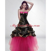 2015 Fashionable Princess Long Hot Pink Camo Wedding Dresses
