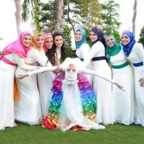 2015 Modest High Quality Muslim Bridesmaid Dresses Wedding Long