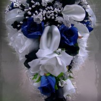 3 4 Black And White Madison Damask With Royal Blue Wedding Guest