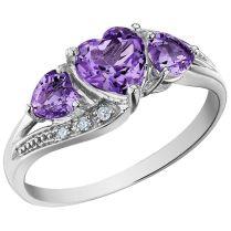 Amethyst Gemstones 10kt Black Gold Wedding Trio Ring Sets Light
