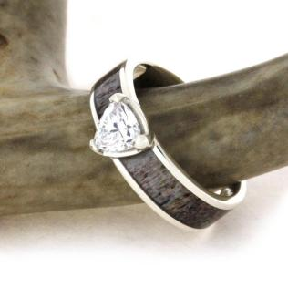 Antler Wedding Ring Cubic Zirconia Set On A Sterling Silver Ring