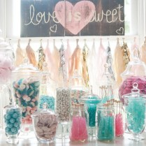 Aqua Pink Wedding Candy Bar