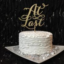 At Last Cake Topper, Wedding Cake Topper, Engagement Cake Topper