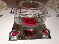 Awesome Pink Roses Lines Fish Bowl Centerpieces Wedding Table