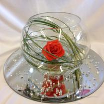 Beautiful Red Rose Green Grass Fish Bowl Centerpiece Wedding Table