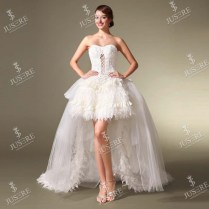 Beautiful Sweetheart Knee Length Short Feather Skirt Wedding