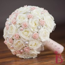 Blush Pink Pearled Wedding Bouquet Lg (more Colors)