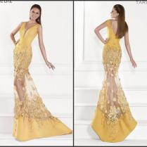 Bright Mermaid Yellow Sexy Evening Dresses Applique Satin 2015