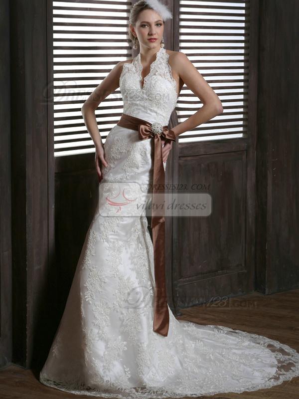 Brown Lace Dress Wedding