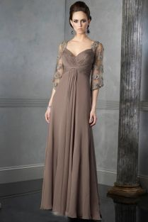 Captivating Wedding Dresses For Older Brides Uses Brown Color With